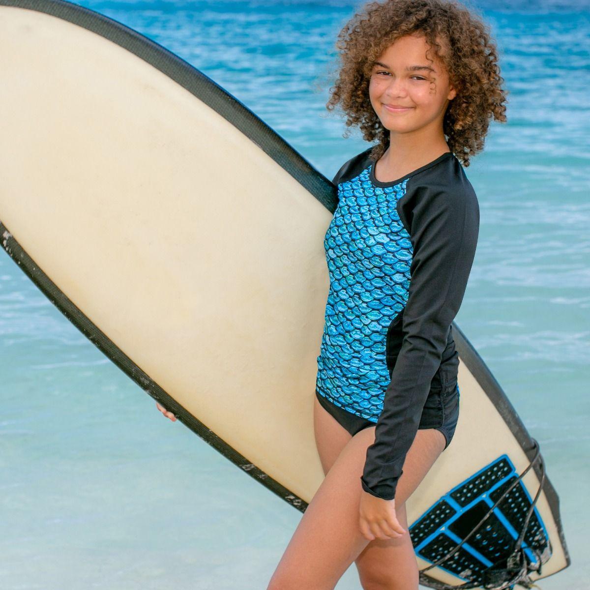 015a6e83d20 Girls Long Sleeve Swim Shirt   Tidal Teal Mermaid Rash Guard by Fin Fun