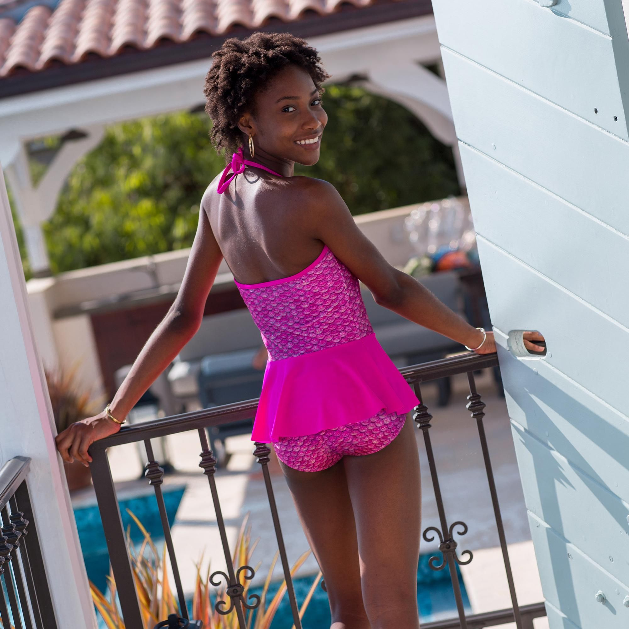 48b608139571d ... Original Malibu Pink Peplum Tankini Top back