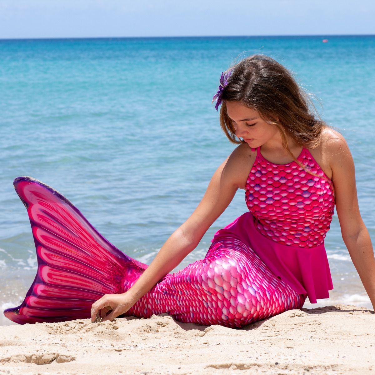 1d904158e3e3f Malibu Pink Peplum Tankini Top for Girls and Women by Fin Fun