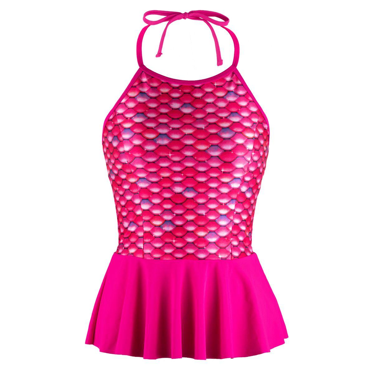 2946dd5a53 Malibu Pink Peplum Tankini Top for Girls and Women by Fin Fun