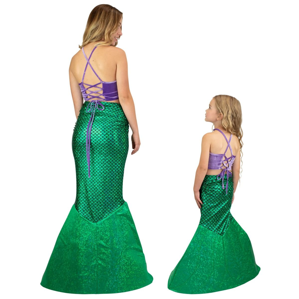 7efb87543bbbf8 ... the back view of an older and younger girl wearing the green mermaid  tail costume with ...