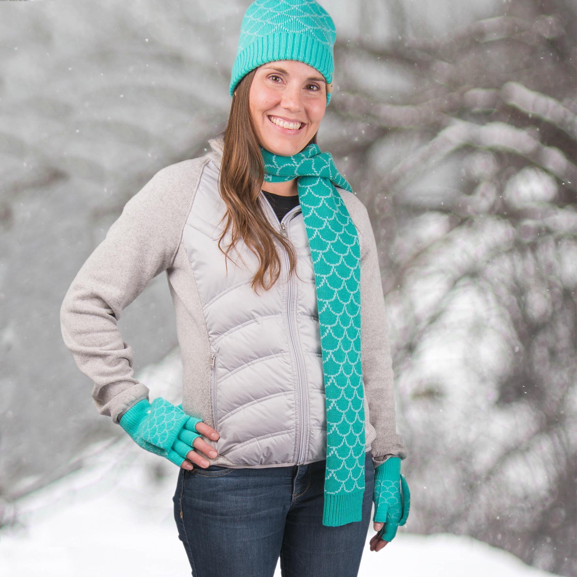 4ae8a68fc81 mermaid hat mitten scarf set child mermaid winter set women mermaid winter  set