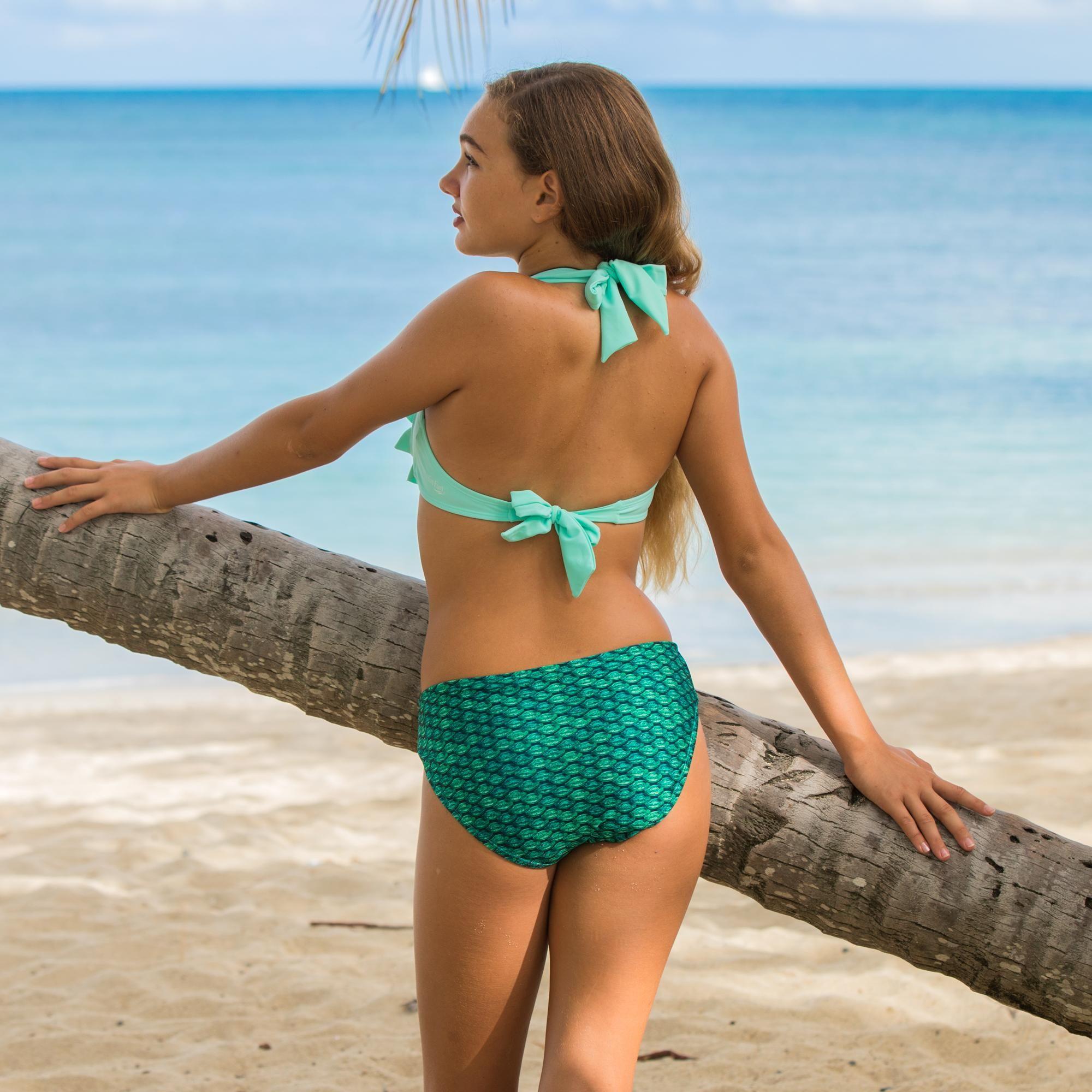 7b603027f61d Mermaid Sea Wave Bikini Top in Mint Green