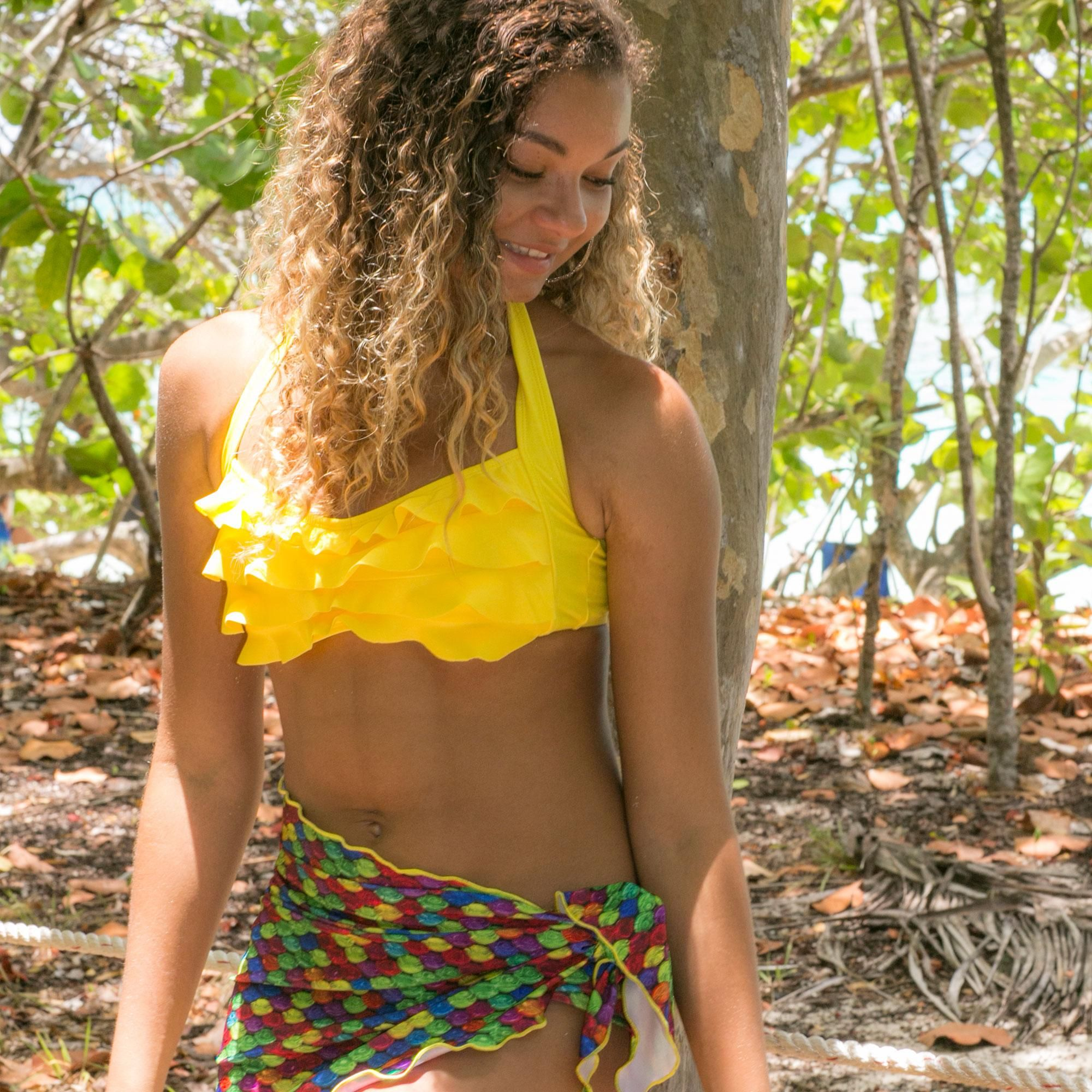 1a2eac72d7 Yellow Sea Wave Bikini Top yellow bikini top yellow mermaid ...