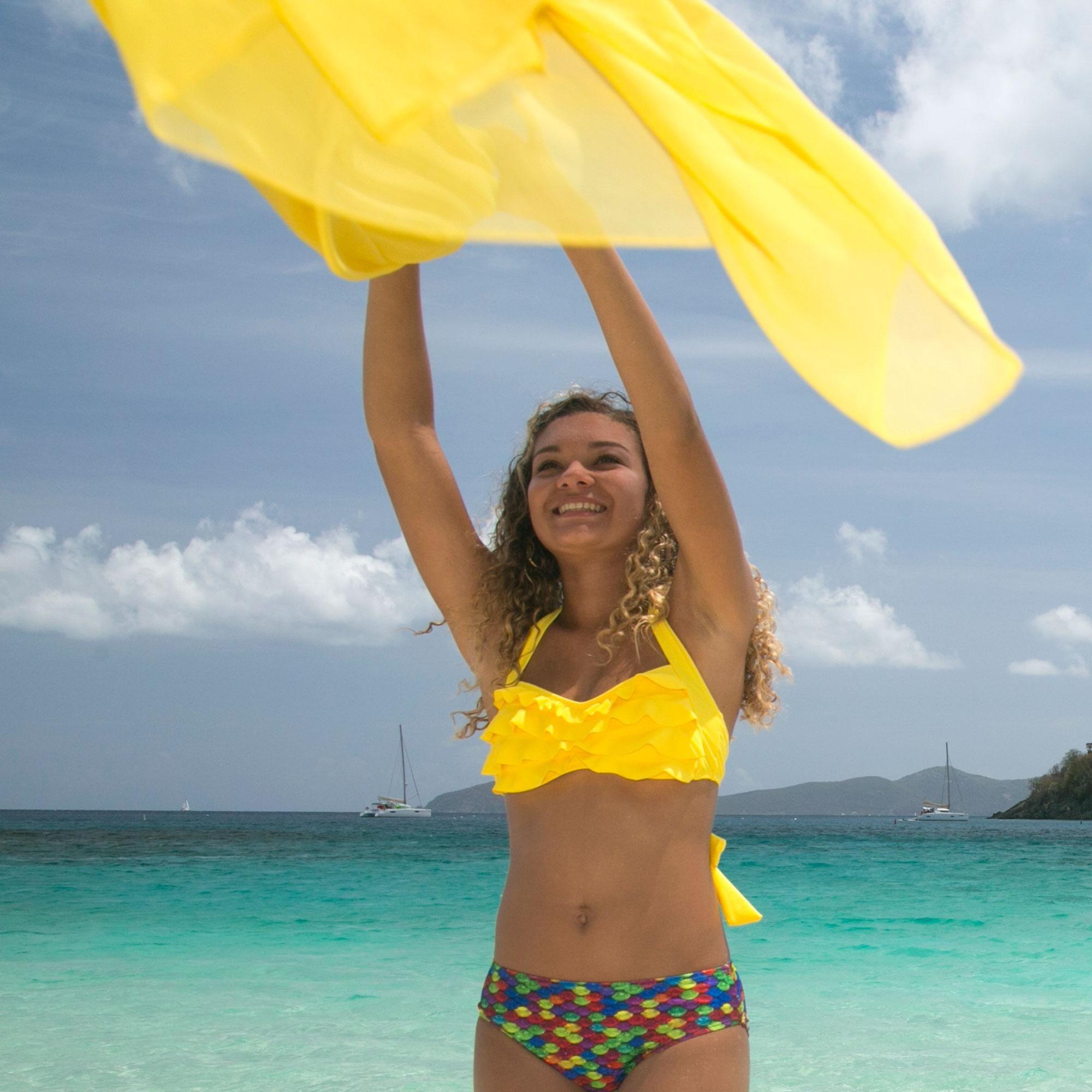 7cf812617d ... mermaid top yellow sea wave bikini top
