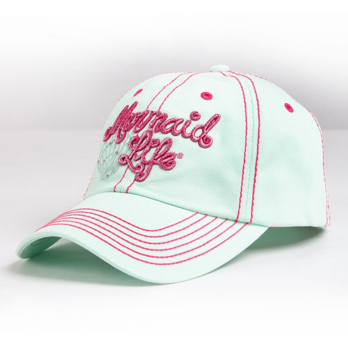 3279db8199fb6b Women's Fashion Shimmer & Shell Caps | Mermaid Life® Cap in Mint