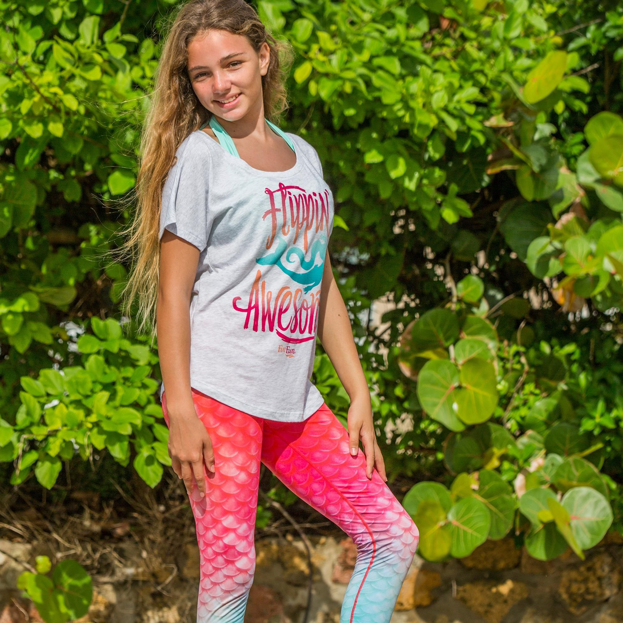 1239f9238f427 Coral Pink Mermaid Scale Leggings for Girls and Women Bahama