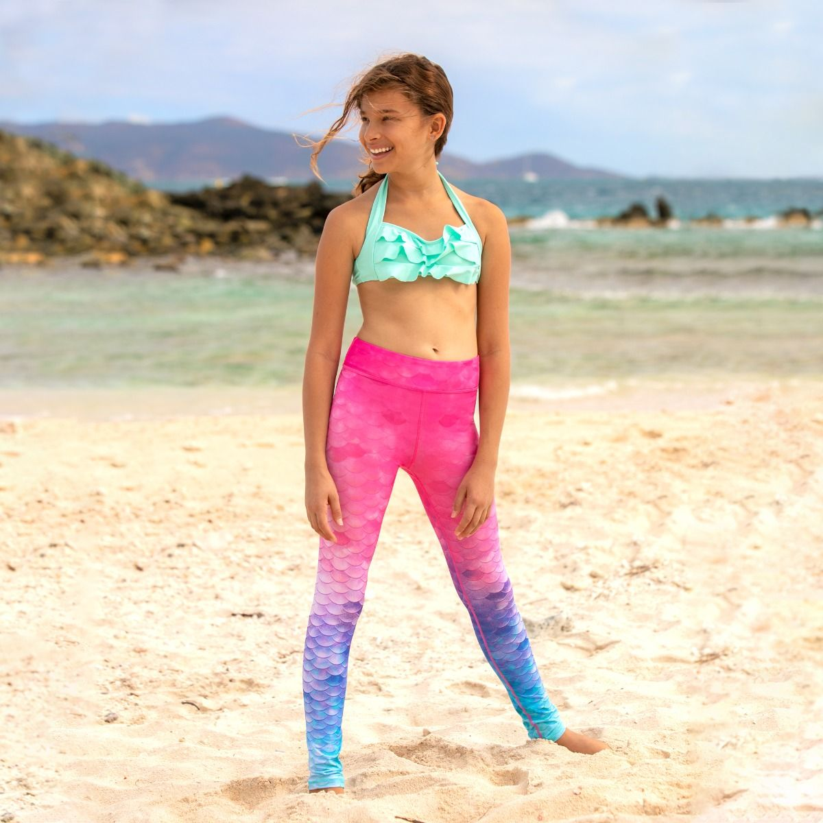 d298f0cdfc2 ... a kid wears pink to blue ombre mermaid scale leggings with a mint green  matching top