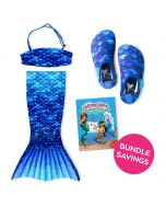 Arctic Blue Toddler Tail, Bandeau Top, and Water Shoes Bundle