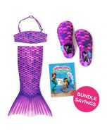 Asian Magenta Toddler Tail, Bandeau Top, and Water Shoes Bundle