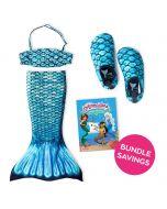 Tidal Teal Toddler Tail, Bandeau Top, and Water Shoes Bundle