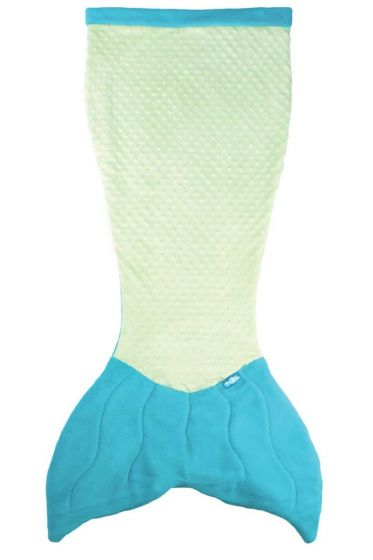 Premium Minky Dot Cuddle Tails Mermaid Tail Blanket in Aquamarine