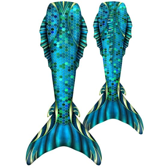 a hexagonal scale mermaid tail with side and back fins