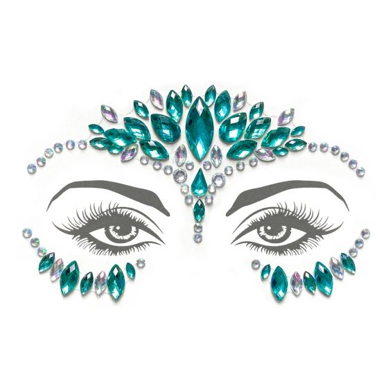 Mermaid Face Gems – Turquoise/Iridescent