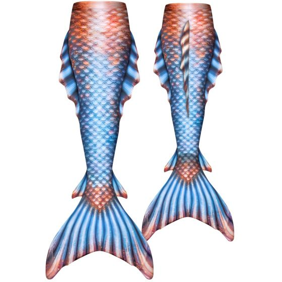 a blue and bronze atlantis mermaid tail with side and back fins