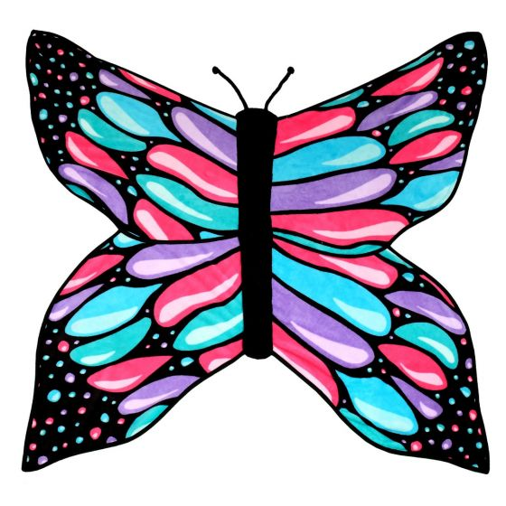 A brightly colored butterfly blanket