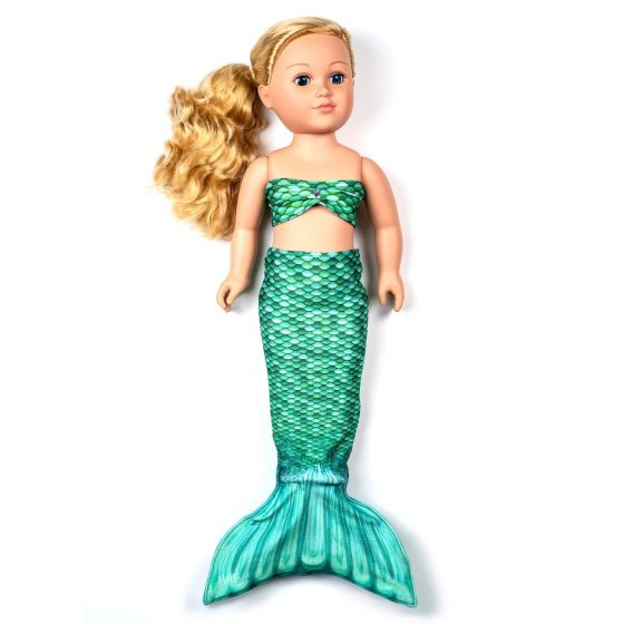 a celtic green mermaid tail set for a large doll