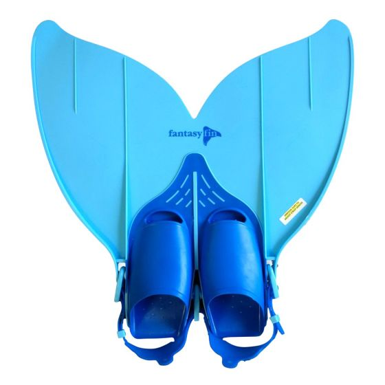 the topside of a blue mermaid monofin for swimming