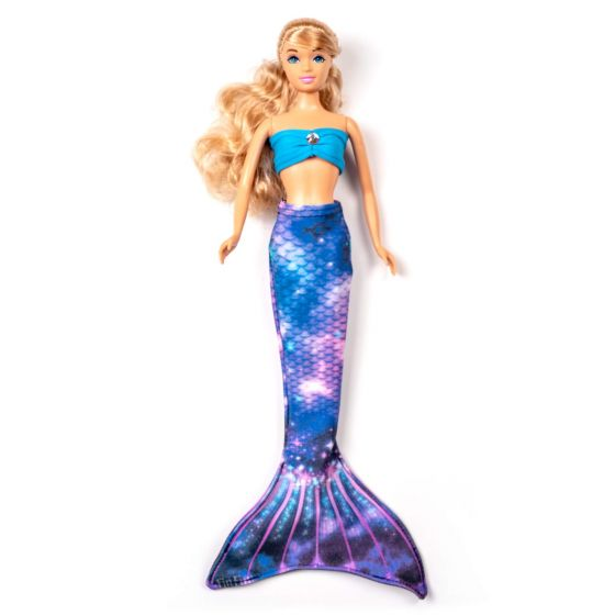 a lunar galaxy mermaid tail set on a small doll