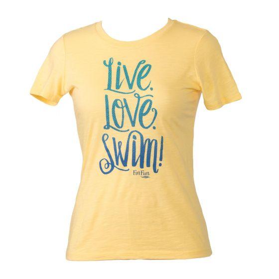 Live Love Swim yellow tee