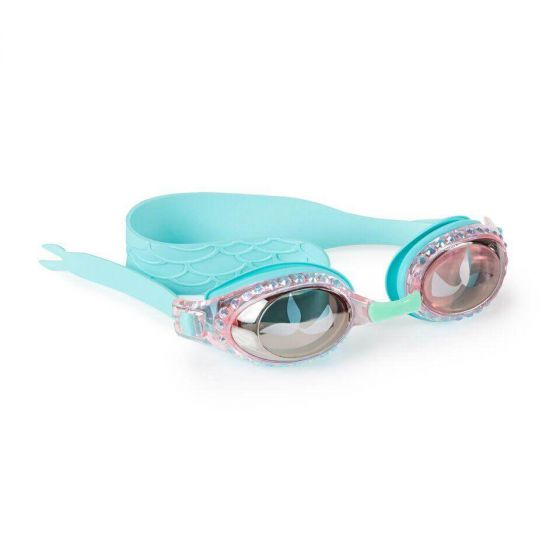 blue bling2o swim goggles for girls with mermaid tails and scales