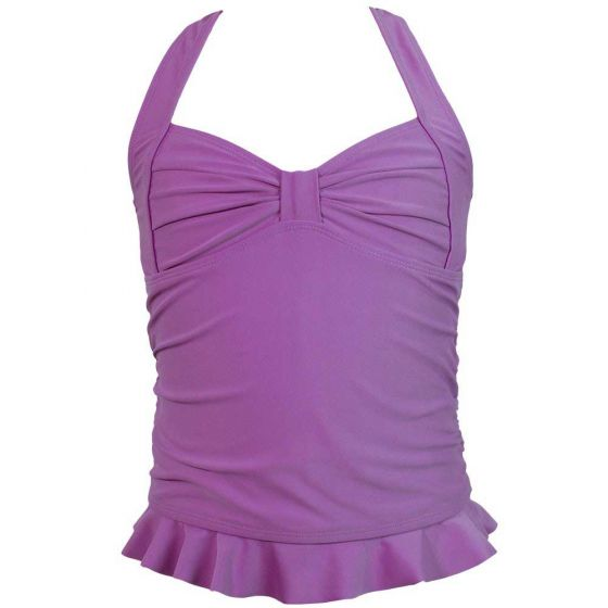Dark Purple Clamshell Tankini Top