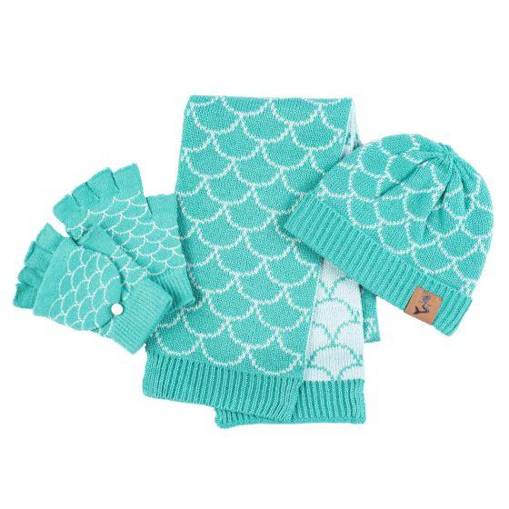 mermaid hat mitten scarf set