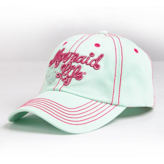 a mint green mermaid baseball cap with pink