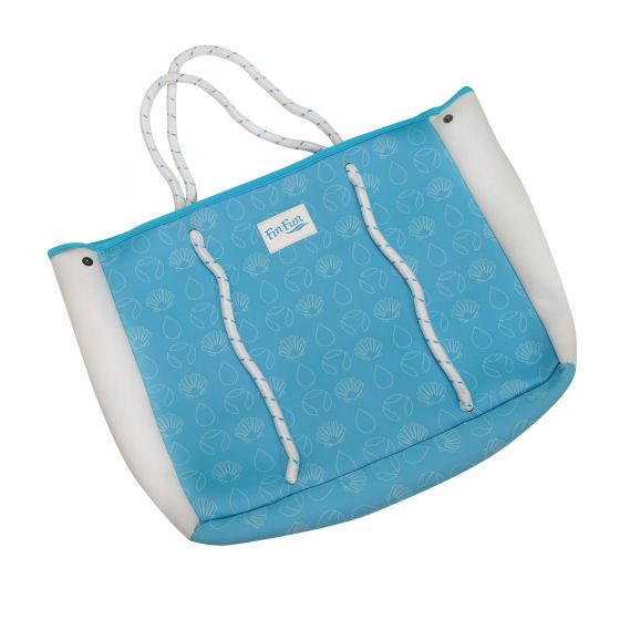 blue neoprene tote bag