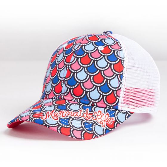 Blue, Red, Pink and white scales on a mermaid life hat