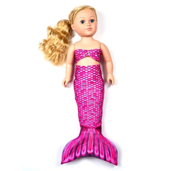 a malibu pink mermaid tail set for a large doll
