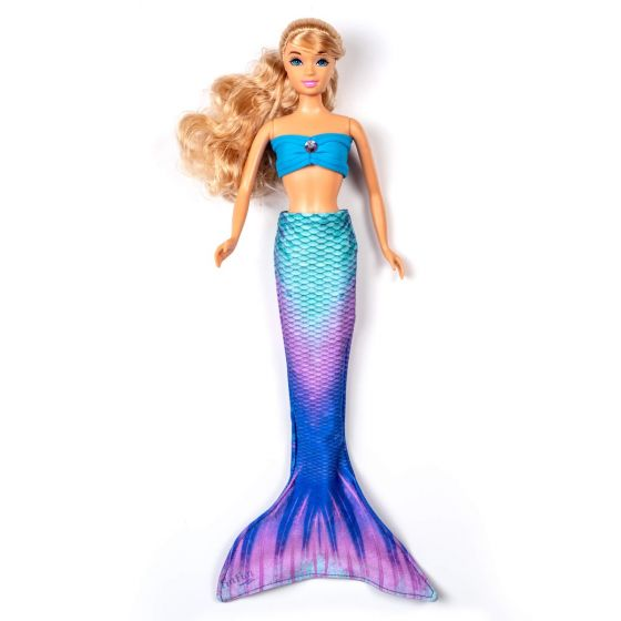 a teal magenta and purple mermaid tail set on a small doll