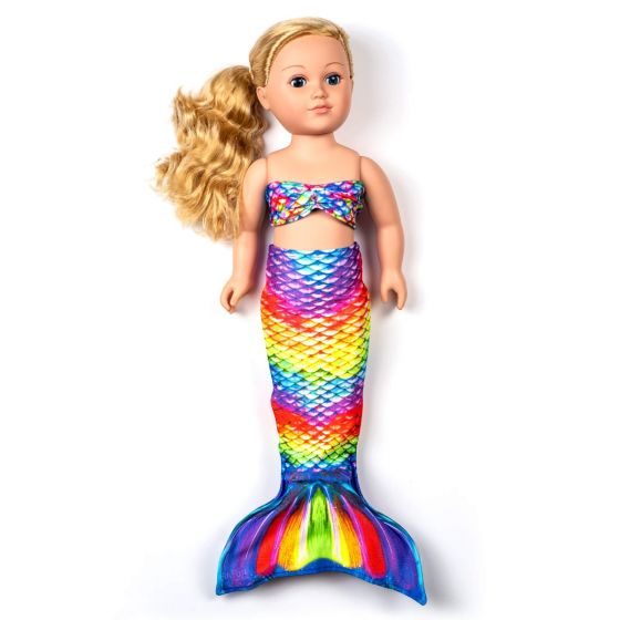 a rainbow reef colored mermaid tail set for a large doll