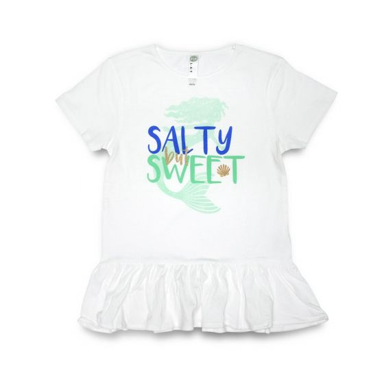 White Salty But Sweet Kid Tee. kids salty mermaid tee