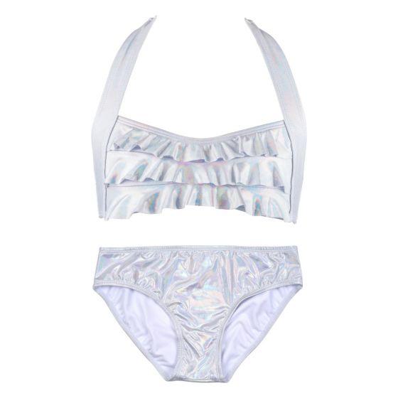 Iridescent Silver Sea Wave Bikini Set