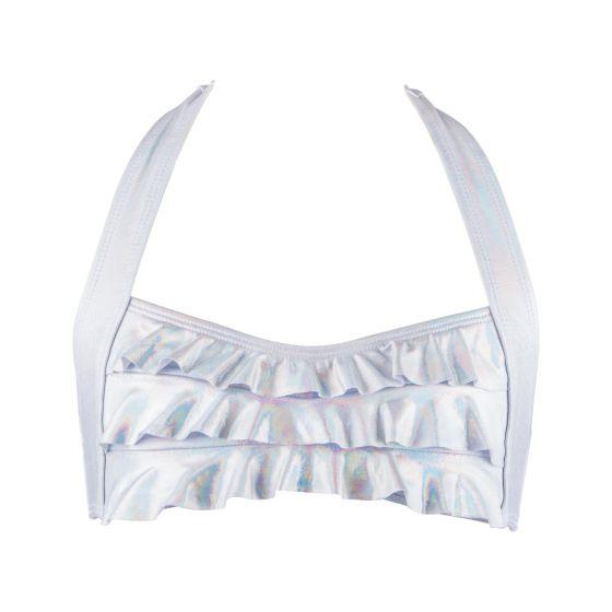 White Iridescent Bikini Top