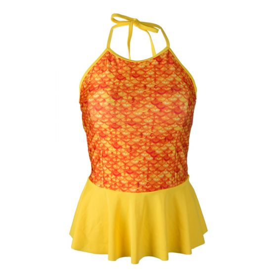 Tropical Sunrise Peplum Tankini Top