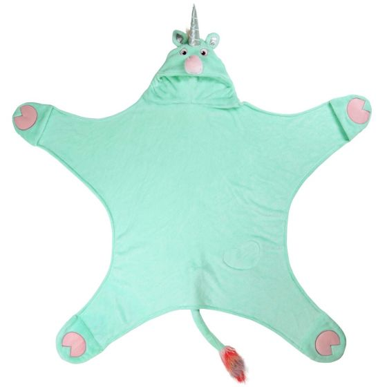 a mint green unicorn costume blanket for kids