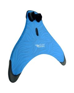 a blue advanced monofin pro with reinforced tips and a sewn center for better swimming