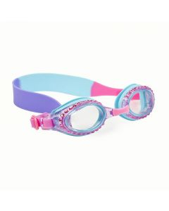 the front of pink and purple and blue glittery goggles