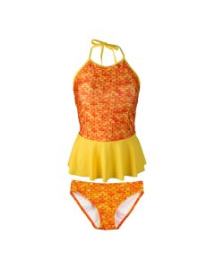 tropical sunrise peplum tankini set