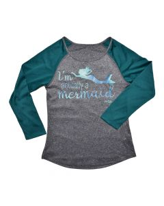 Black Green Actually a Mermaid Raglan Top