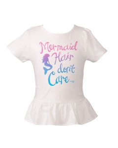 Kids Mermaid Hair Don't Care Tee - White