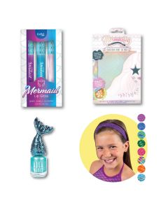 A composite of 4 different products: Mermaid Lip Gloss, Iridescent body tattoos, Mermaid Nail Polish, and Mermaid Scale Headbands