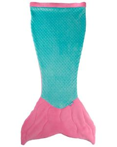Premium Minky Dot Cuddle Tails Mermaid Tail Blanket in Pink/Teal