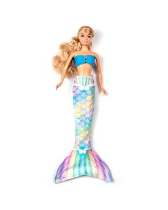 a sweet dreams rainbow mermaid tail set on a small doll