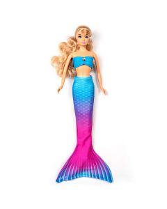 an ombre blue to pink mermaid tail set on a small doll
