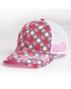 Red, Pink and white scales on a mermaid life hat