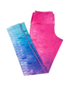 Teal, Blue, Purple, and Pink mermaid scale leggings