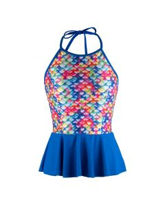 Rainbow Reef Peplum Tankini Top